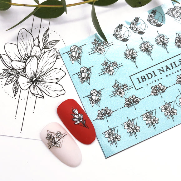 IBDI Abstract flower nail decals / sliders