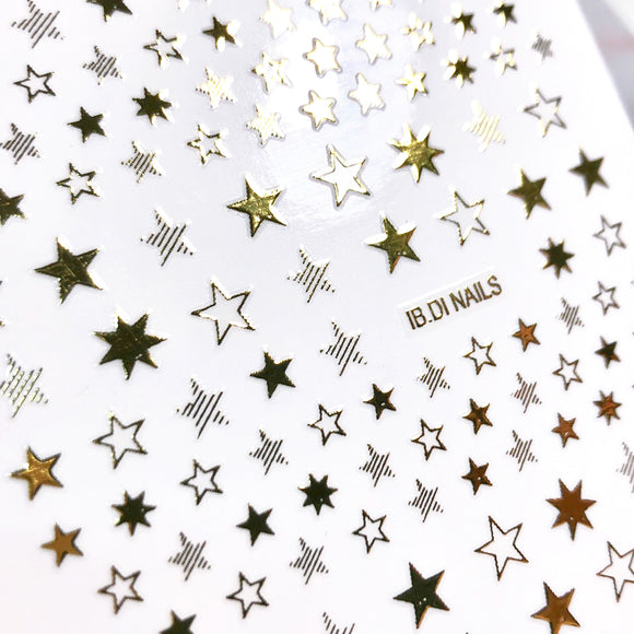 Gold nail stars for manicure art