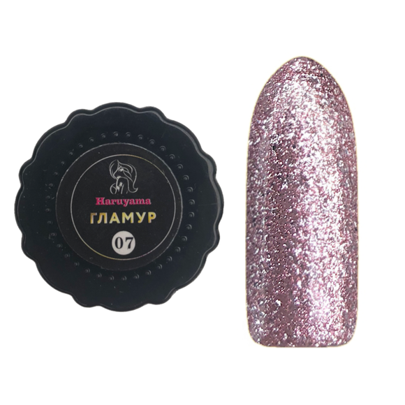 Haruyama Glamour pink glitter gel nail polsih for Russian manicures and pedicures
