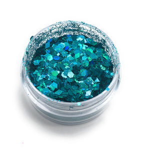 Blue, green, turquoise nail glitter for manicures and pedicures