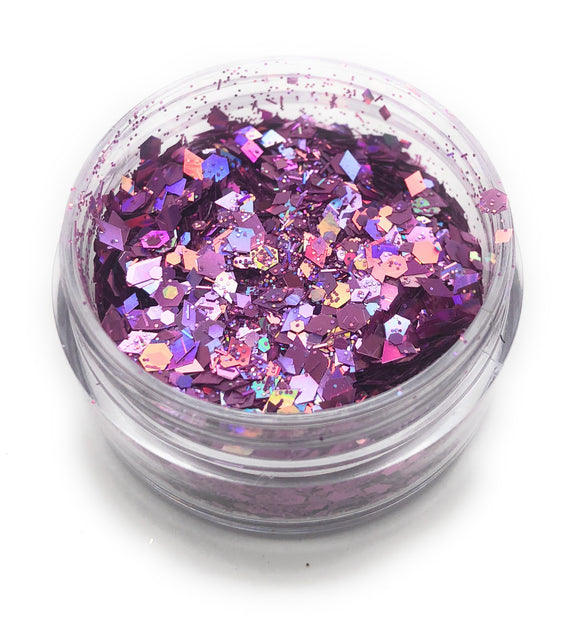 Purple glitter for use in a manicure or pedicure