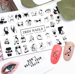 Sexy and provocative nail decals for manicures and pedicures