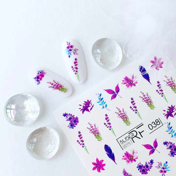 Slider.RF Lavender waterslide nail decals for manicures and pedicures