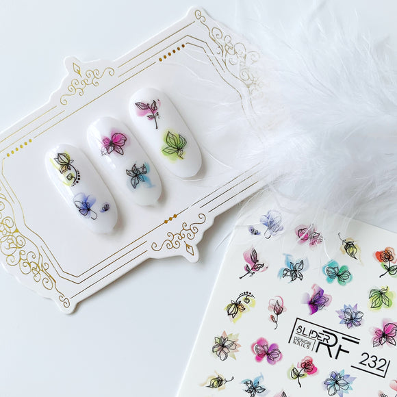 Slider.RF watercolor flower nail decals