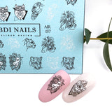 Cool wolf and lion animal nail decals and sliders