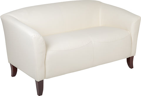 Ivory Leather Loveseat