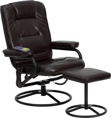 Massage Brown Leather Recliner