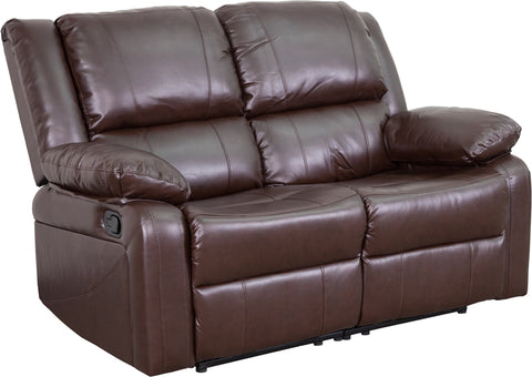 Brown Leather Recline Loveseat