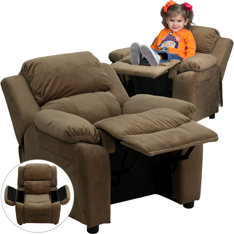 Brown Microfiber Kids Recliner