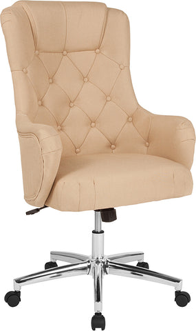 Beige Fabric High Back Chair