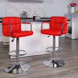 Red Quilted Vinyl Barstool