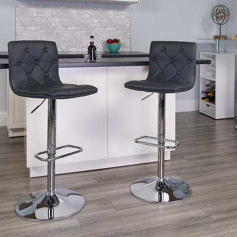 Tufted Gray Vinyl Barstool