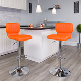 Orange Vinyl Barstool