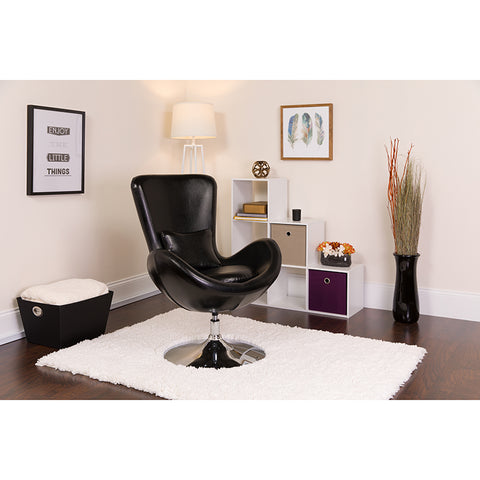 Black Leather Egg Series Chair