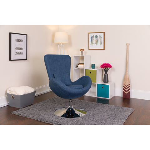 Blue Fabric Egg Series Chair