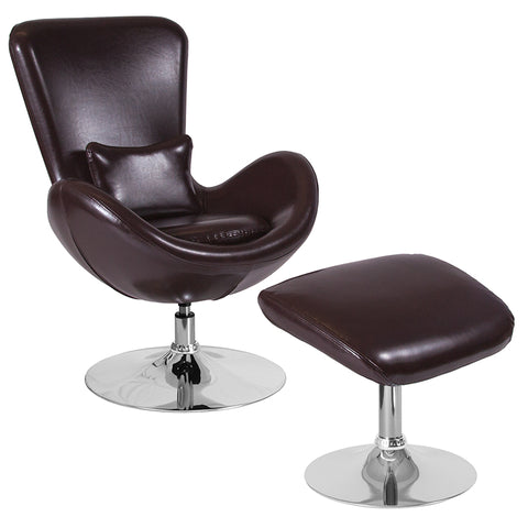 Brown Leather Reception Chair