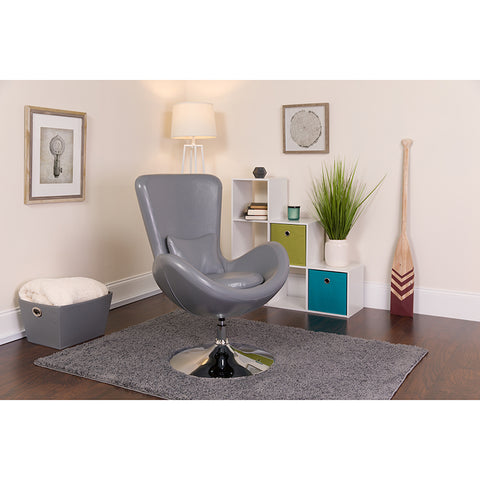 Gray Leather Egg Series Chair