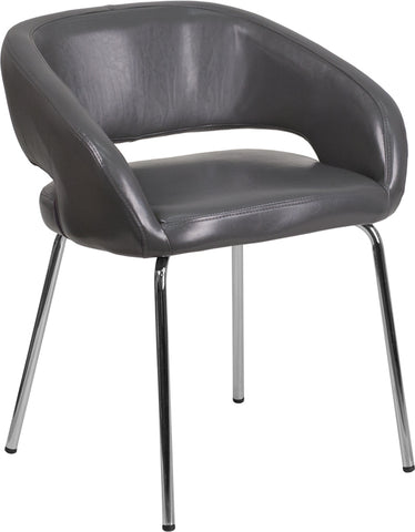 Gray Leather Side Chair