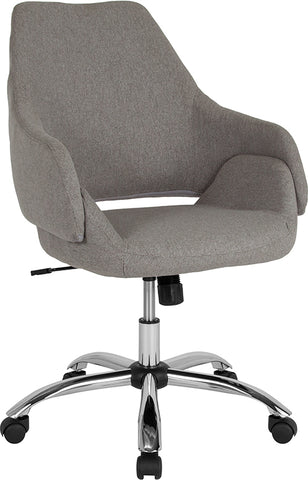 Lt Gray Fabric Mid-back Chair