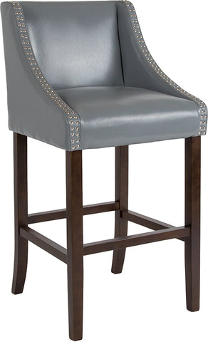 "30"" Gray Leather-wood Stool"