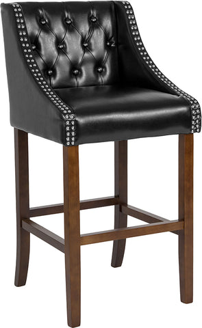 "30"" Black Leather-wood Stool"