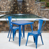 23.75sq Blue Metal Table Set