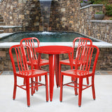 24rd Red Metal Table Set