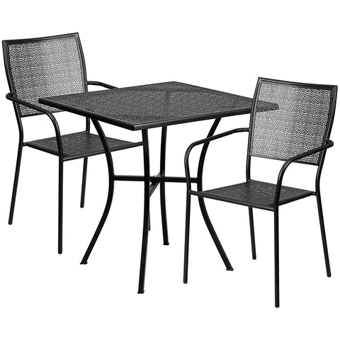 28sq Black Patio Table Set