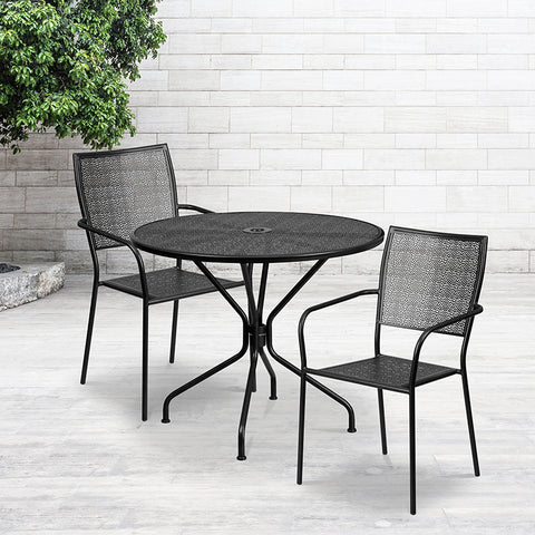 35.25rd Black Patio Table Set