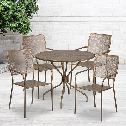 35.25rd Gold Patio Table Set