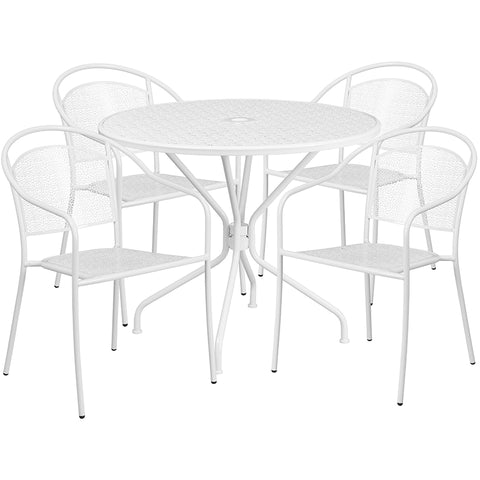35.25rd White Patio Table Set