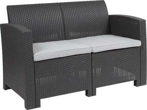 Dark Gray Rattan Loveseat