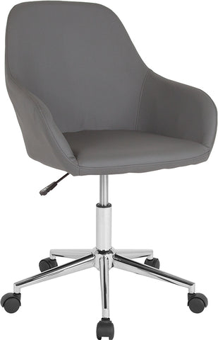 Gray Leather Mid-back Chair