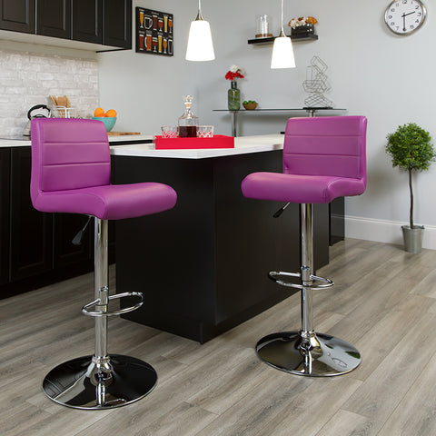 Purple Vinyl Barstool