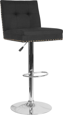 Black Fabric Barstool