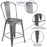 "24""h Distressed Silver Stool"