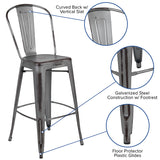 "30""h Distressed Silver Stool"