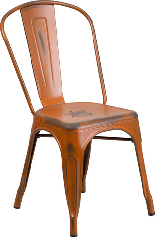 Distressed Orange Metal Chair