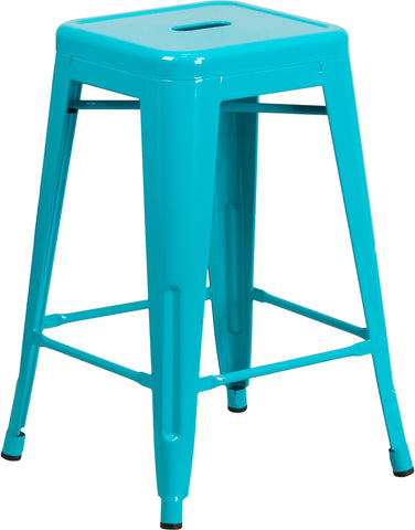 "24"" Teal No Back Metal Stool"
