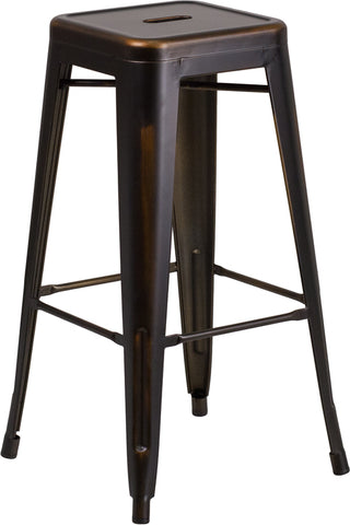 Distressed Copper Metal Stool