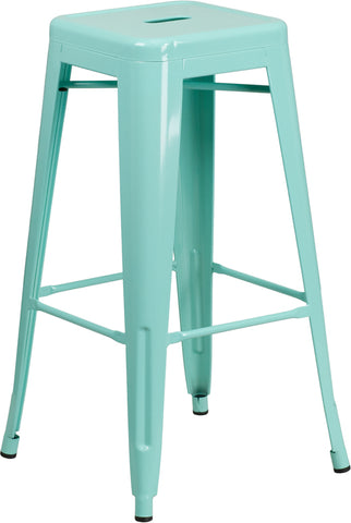 "30"" Mint No Back Metal Stool"