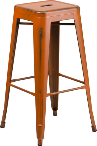 Distressed Orange Metal Stool