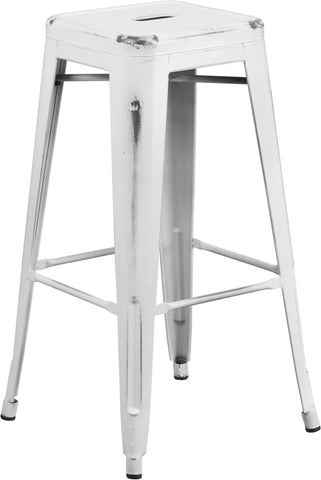 Distressed White Metal Stool