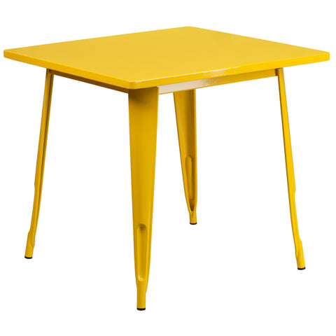 31.5sq Yellow Metal Table