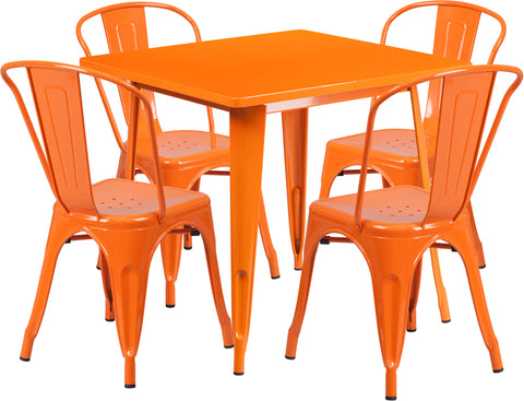 31.5sq Orange Metal Table Set