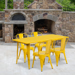 31.5x63 Yellow Metal Table Set