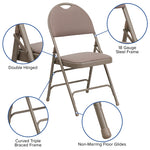 Beige Fabric Folding Chair