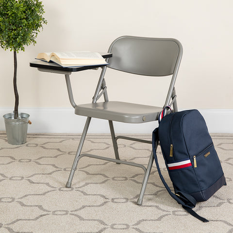 Beige Metal Tablet Arm Chair