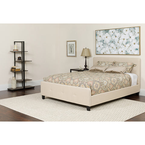 Twin Platform Bed Set-beige