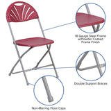 Burgundy Plastic Folding Chair